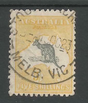 Australia  Sg42 The 1918 Gv 5/- Grey And Yellow Fine Used Cat £110