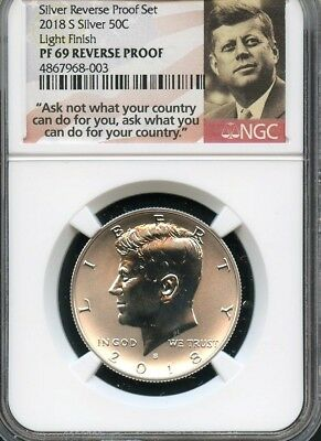 2018 S Silver REVERSE PROOF Kennedy 50C LIGHT FINISH NGC PF69  (POR)