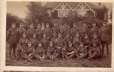 WW1 group postcard Large group of Yeomanry & Hussars SNCO's