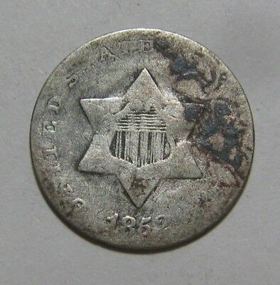 1852 Three Cent Silver - Circulated Condition - 122SA