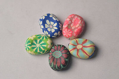 4pc 21*27.5mm Lampwork Porcelain Flower Spacer Charm Beads Fit European Bracelet