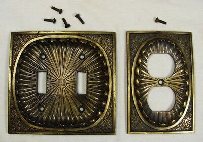 Vintage 1974 American Tack & Hardware Brass Outlet Cover & Double Switch Plate