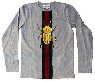 a41765b0 NEW BOYS GUCCI T-Shirt 10 yr Web and beetle print gray Tee long sleeves