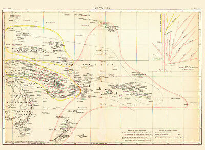 1880 Color Map of POLYNESIA - Ethnographic Detail