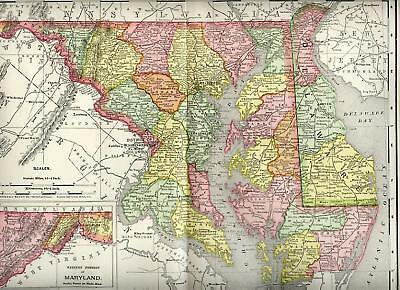 1901= MARYLAND, DELAWARE= OLD MAP= 109 years old !
