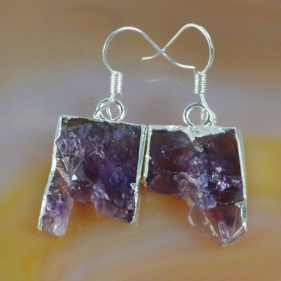 Rare Amethyst Druzy Slice Dangle Earrings Silver Plated H124086