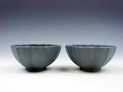 Pair YiXing Zisha Clay Hand Crafted Flower Petal Shaped Tea Cups #04241804
