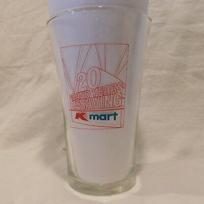 """Vintage K-MART """"20 GRAND YEARS OF SAVINGS"""" Limited Edition Glass-1962-1982"""