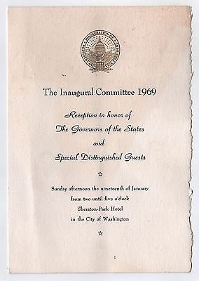 1969 PRESIDENT RICHARD NIXON Inauguration GOVERNOR RECEPTION Program GOVERNORS