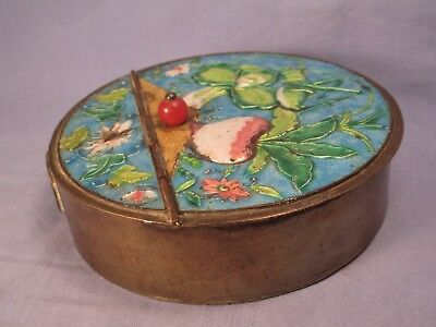 "Chinese Enameled Silk Iron - Grasshopper & Vegetable Scene - ""As Is "" /   ST 421"