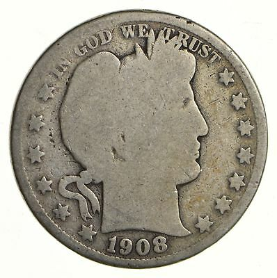 50c United States Coin - 1908-S Liberty Barber 90% Silver US Half Dollar *310