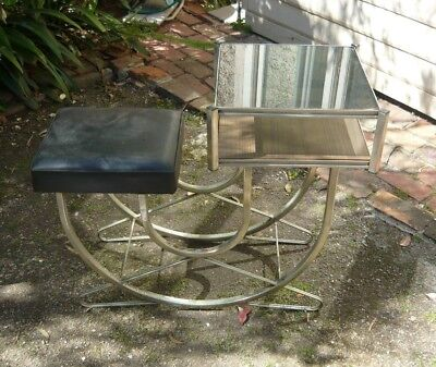 Art-deco/retro style telephone table. Smoked glass top. Metal needs a clean