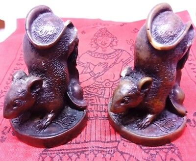 2x Rat Mouse hold money Miniature Figurine Brass Statue Luck Wealth Rich Amulet