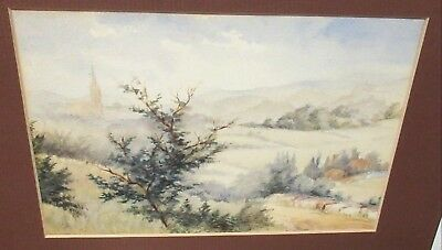 Old Original Watercolor Landscape Church Painting Unsigned