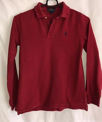Polo Ralph Lauren Boys Red Long Sleeved Polo Neck T.shirt Age 7 Years