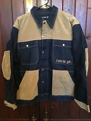 Vintage Zip And Press Stud Button Up Jacket Eminem Navy Blue & Camel Size Xl New