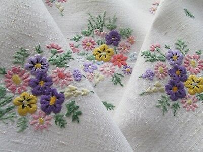Vintage Hand Embroidered Linen Tablecloth-BEAUTIFUL MINIATURE FLOWERS
