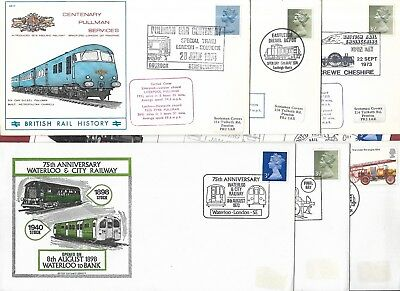 Eight Commemorative Railway Covers - British Rail - Pictorial Shs - 1970's.