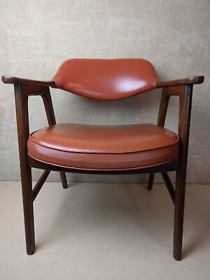 Vintage~Office~Library~Wood~Arm Chair~armchair~Vinyl~Desk~