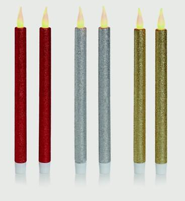 NEW Christmas 2pc Taper Candle With Glitter, Red-Gold-Silver  - Premier Deco