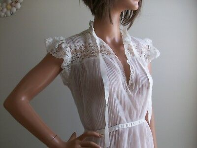 Vtg RADCLIFFE White Accordian Pleat & Lace SHEER Nightgown~Gorgeous!~ Sz 36