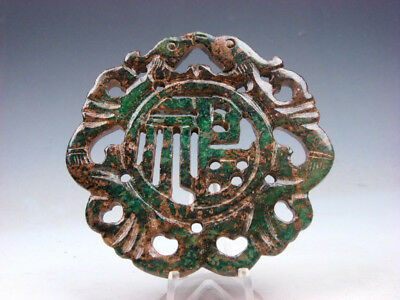 Old Nephrite Jade Stone 2 Sides Carved LARGE Pendant 2 Birds Blessing #10211810