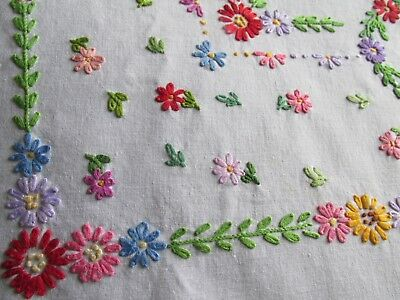 Vintage Hand Embroidered Linen Tablecloth-BEAUTIFUL COLOURFUL FLORAL'S