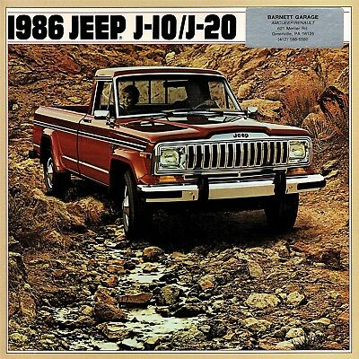 1986 Jeep J-10 & J-20 Pickup Truck Dealer Sales Brochure