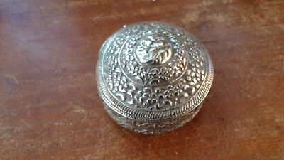 Very Old Middle Eastern Turkish or Qajar Round Repousse Silver Box BIN OBO FS