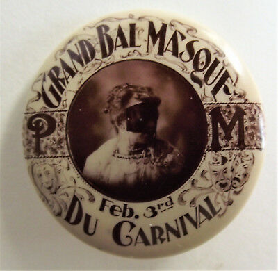 FRENCH OPERA THEATER Masquerade CARNIVAL BALL Pinback CELLULOID Button GOWDY