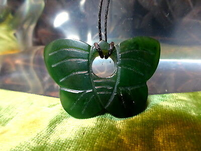 Vintage Carved Nephrite Jade Butterfly Pendant