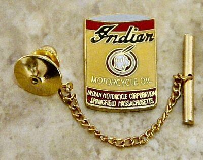 Indian Motorcycle Oil Tie Tack Pin & Chain Clasp