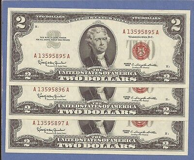 1963 $2 United States Note,Three (3) Sequential,Red Seal,CH Crisp UNC,Nice!