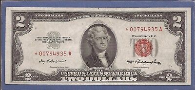 1953 $2 United States Note,*Rare* Star Note,Red Seal,Choice Crisp XF,Nice!