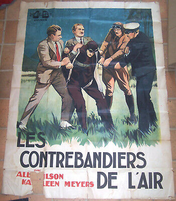 Affiche Ancienne Cinema Film Ob Les Contrebandiers De L'air Pilote Circa 1945