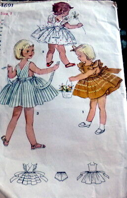 LOVELY VTG 1950s GIRLS PINAFORE DRESS & PANTIES Sewing Pattern 1
