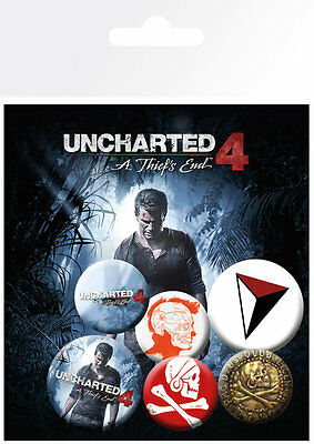 Button Badge 6er Pack UNCHARTED 4 - A Thief´s End - Game - 2x32mm & 4x25mm BP662