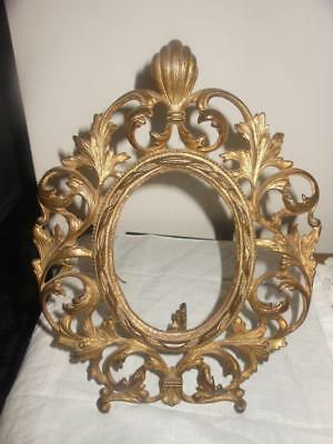 "Antique Ornate Victorian Cast Metal Oval Picture Frame w/Easel Stand 8""x10"""
