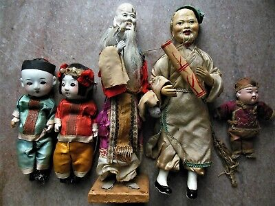 Antique 19C Chinese Asian Scholar Figure & Bisque Child Boy Girl Doll Lot (5)