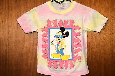 Vintage 1980's  MICKEY MOUSE TIE DYE T-SHIRT Pink & Yellow  YOUTH 5/6  Disney VG