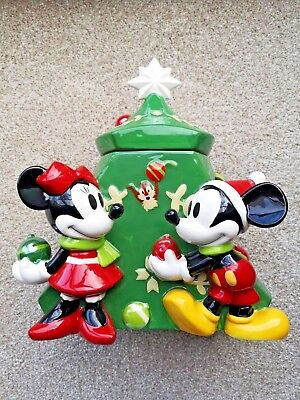 New Disney Store Mickey & Minnie Mouse Christmas Tree Large Cookie Jar
