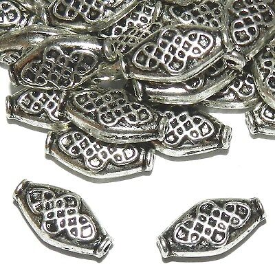 MB7213 Antiqued Silver Rimmed Diamond Marquise Oval 15mm Metal Beads 25pc