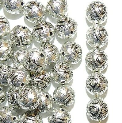 MB780 Antiqued Silver 9mm Heart Embellished Round Metal Spacer Beads 18pc