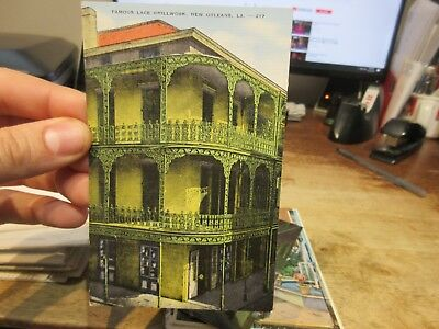 Vintage Old Postcard LOUISIANA New Orleans French Quarter Lace Grillwork Balcony
