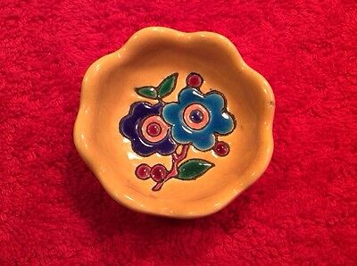 Vintage French Longwy Canary Yellow Enameled Butter Pat, ff331