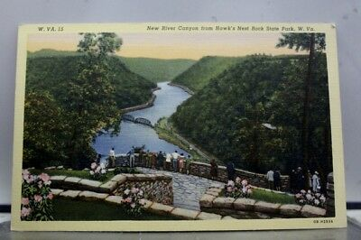 West Virginia WV Hawk's Nest Rock State Park New River Canyon Postcard Old View