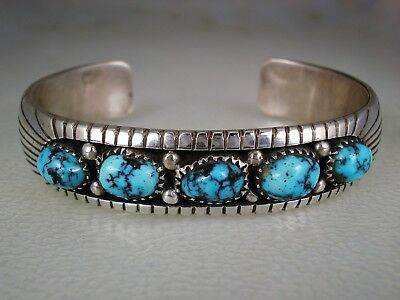 Gorgeous Navajo Sterling Silver & 5 Lone Mountain Turquoise Row Bracelet
