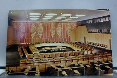 United Nations UN Economic Social Council Chamber Postcard Old Vintage Card View