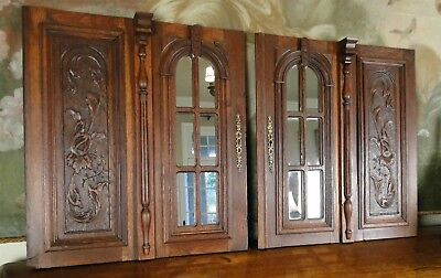 Pair Antique Black Forest Architectural Door Mirrored & Carved Panels Gothic