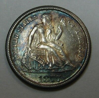 Attractive Uncirculated 1877-CC Seated Liberty Dime Grading CH BU Rainbow Toning